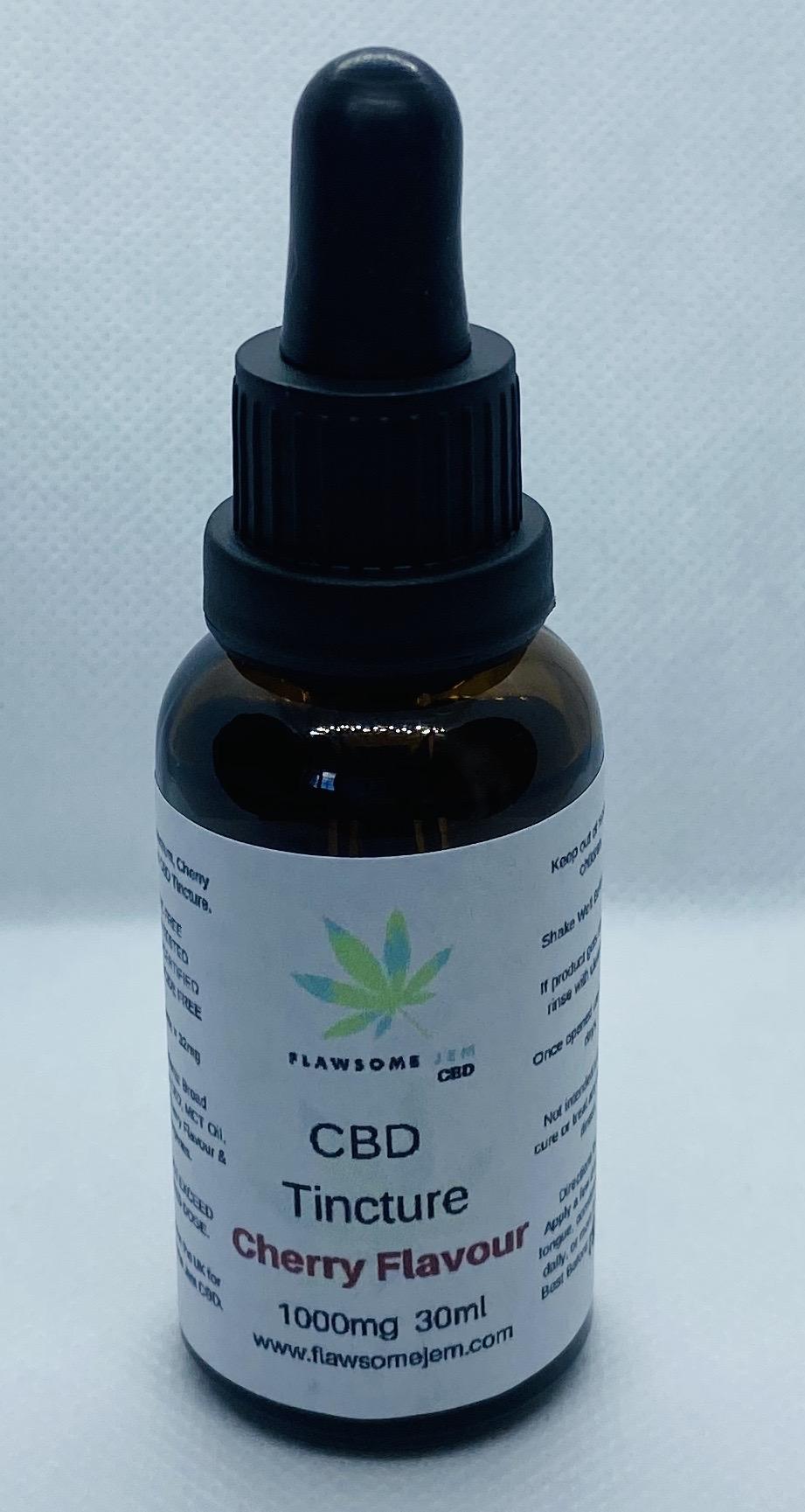 Broad Spectrum CBD Tincture, Cherry Flavour, 1000mg, 30ml