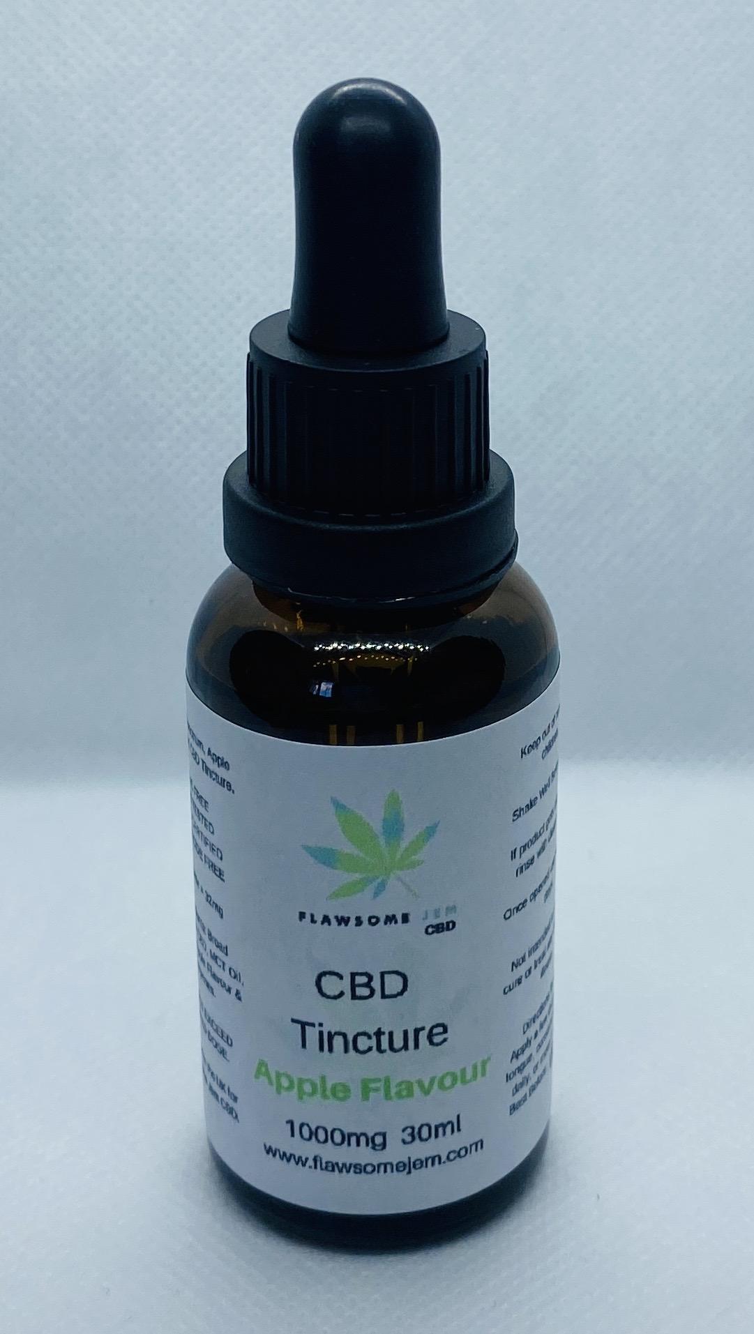 Broad Spectrum CBD Tincture, Apple Flavour, 1000mg, 30ml